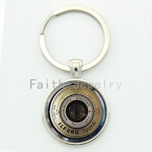 Vintage camera lens personalized keychain CL02 cool photographer gifts for men round glass cabochon alloy key chain KC138
