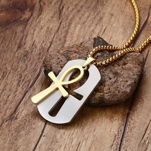 Mens ANKH Egypt Cross Logo Symbols Pendant Military Dog Tag Luggage Tags Metal Chain Necklace Stainless Steel Jewelry 24""