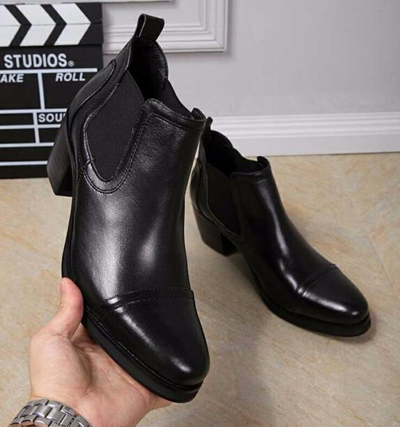 Eunice Choo Genuine Leather Chunky Heels Men Ankle Boots Slip On Smooth  Leather Shoes Male Formal Black Boots Bootie Buy Shoes Online From  Beasy111,