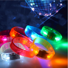 50pcs Voice Control LED Bracelet Sound Activated Flashing Bracelet Wristband for Night Pub Bar Disco Party Activity