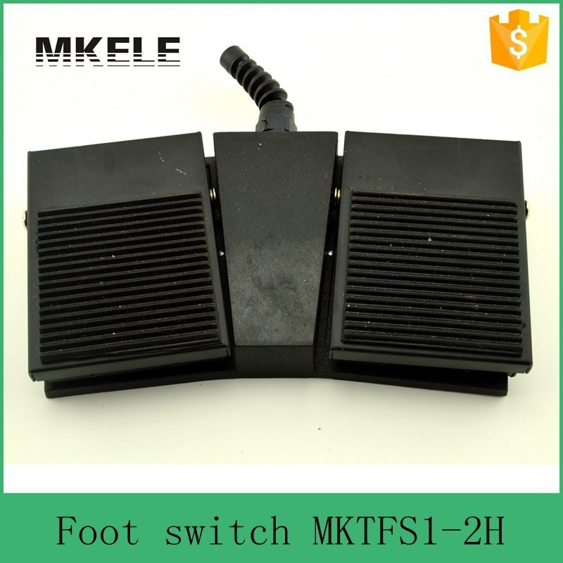 MKTFS1-2H Factory direct Nonslip SPDT NO/NC 2016 new design popular hot sale CE black Rubber Surface double pedal foot switch<br>
