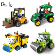 GonLeI ENLIGHTEN City Series Road Roller Forklift Truck Tractor Sweeper Truck Building Blocks Kids Toy Compatible with Lepin