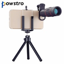 Powstro 1000m 18X Zoom Telescope Mobile Phone Lens 2 in 1 Universal Clips Telefon Camera Lens with Tripod for iPhone Samsung(China)