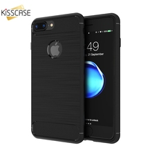 KISSCASE For iPhone 7 Plus Case Shockproof Best Quality TPU Protective Carbon Fiber Silicone Phone Cases for iPhone 7 Plus Funda