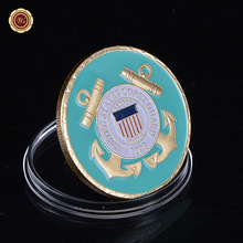Hot New United States Coast Guard Gold Plated Coin Unique American Military Commemorative Coins Souvenir Challenge Coin(China)