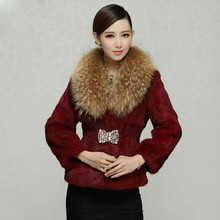Real raccoon dog fur collar women's whole skin rabbit fur coat outerwear women diamond stone slim short fur coats and jackets