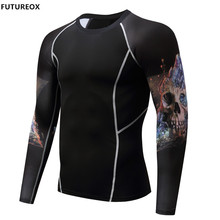 2017 Muscle Men Compression Shirts Tight T-shirt Long Sleeves Thermal Under Top Rashguard Fitness Base Layer Weight Lifting Wear(China)