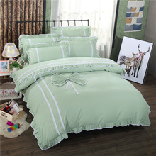 Korean style twin full queen size green bedding sets Polyester Lace Princess duvet cover bedsheet bedroom bedspread pillowcase
