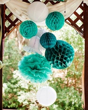 DIY 8pcs 20cm/25cm Honeycomb Paper Decorations Teal & White Tissue Paper Balls Wedding Hanging Party Supplier Paper Balls Poms