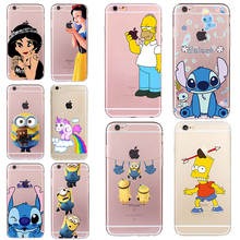 Stitch Homer Case for iphone 6 6s 5 5s SE 7 plus Minions Cheap Coque Simpson Soft TPU Silicone Transparent Cover Unicorn Fundas
