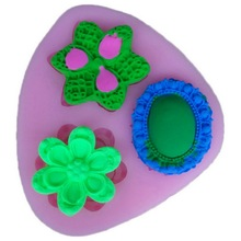 1pcs Home-Made Baking Silicone Gemstone & Flower Mold for Making Fondant Cake Chocolate Soap Pink(China)