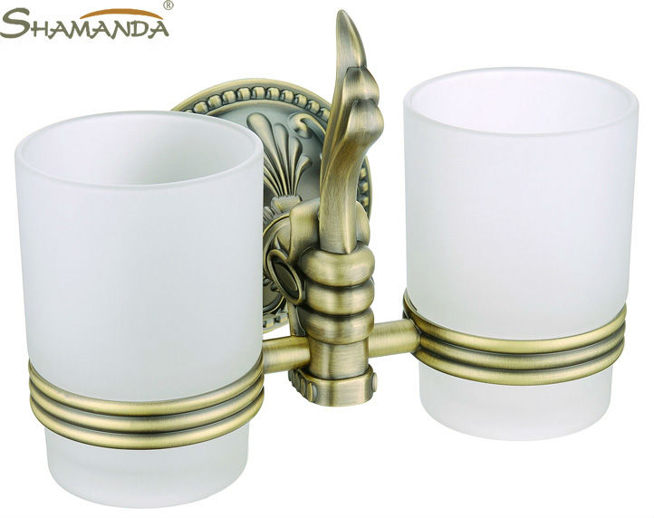 Free shipping-European style Luxurious Antique Bronze Double cup holder,toothbrush holder,Bathroom Accessories-wholesale-66004B<br>