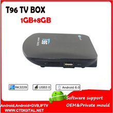 T96 Android TV Box 4K Quad-core Android 5.1 RK3229 1G 8G receiver smart set-top box connected usb hdmi WiFi network Media Player