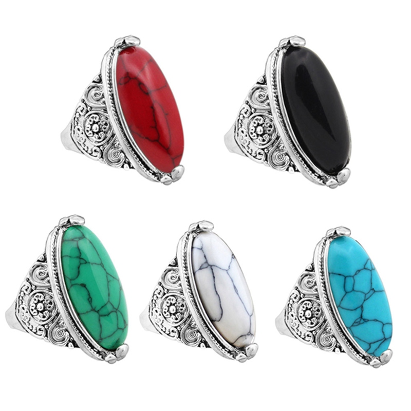 1Pcs New Flower Band Oval Natural Stone Rings For Women Vintage Look Antique Silver Plated 5 Colors Fashion Jewelry