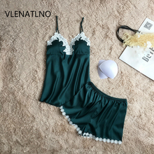 VLENATLNO pajamas sets summer style Women Female Sleep sets Deep V-neck Sexy Spaghetti Strap Shorts Sleepwear silk home wear