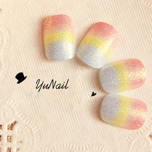 Pretty Rainbow Color Short Fake Nails 24 Pcs Oval Full Light Red Yellow and White Glitter Artificial Nails with Glue Sticker