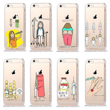 Spain Cute Cartoon Medicine Nurse Doctor Dentist Case For iPhone SE 5 5S 6 6S 6Plus 7 7Plus Soft Silicone TPU Back Cover Capa