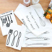 DUNXDECO Table Placemat Cotton Tea Towel Napkin Modern Nordic White Black Kitchen Tools Fish Print Home Decoration