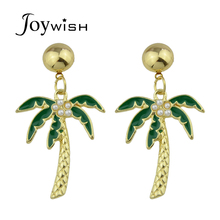 Joywish 2017 New Cute Lovely Gold-Color Green Coconut Tree With Simulated-pearl Drop Earrings For Women Accessories Jewelery