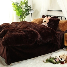 Flannel Brown Duvet Cover Set Queen Size Bedding Sets For Adults Fleece Fabric Duvet Cover Solid Color Bed Sheet Pillow case(China)