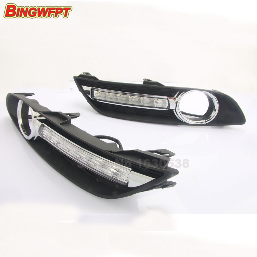 Turn off style relay LED Car DRL Daytime Running Lights for Nissan Sylphy Sentra 2013-15 with fog lamp hole<br>