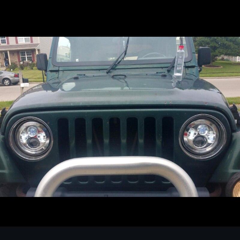 FADUIES Black 7 inch LED Headlight 40W H4 High low Beam For Jeep Wrangler JK 2 Door 4 Door LandRover Defender Headlamp (13)