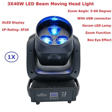 1Pcs/Lot LED Beam Wash Stage Lights 3X40W High Power Rotating Bee Eye Moving Head Lights 100-240V With Zoom Function New Design(China)