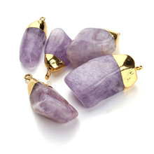 Irregular Purple Purple Quartz Crystal Pendant Birthstone Charms for Necklace Craft Making Jewelry Finding Statement Good Luck