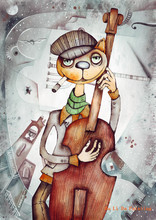 free shipping cartoon modern cat music scenery oil painting canvas painting prints on canvas kid room decoration pictures