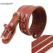 SYDZSW Top Grade Leather Large Dog Collar Labrador Dog Leads Fashion Hoop Design Big Dog Collars Pet Products Strong and Durable