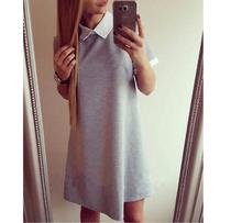Summer Fashion Woman Dress New Style Casual Loose peter pan Collar Short Sleeve Cute Dress Hit Color(China)