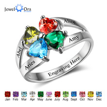 Anniversary Family Ring Engrave Name Custom 4 Birthstone Ring 925 Sterling Silver Heart Commemoration Rings (JewelOra RI102501)