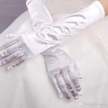 Bridal Satin Gloves White Long Black Gloves Satin Elastic Gloves Wedding Accessories Party Prom Gloves