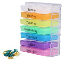 Colorful Design Medicine Weekly Storage Pill 7 Day Tablet Sorter Box Container Case Organizer Pill Organizer Boxs
