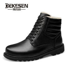 Buy DEKESEN Brand Super Warm Mens Winter Genuine Leather Men Waterproof Rubber Snow Boots Leisure Boots England Retro Shoes Men for $56.68 in AliExpress store