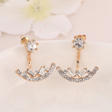Fashion Stud Earrings For Women 2016 Gold Silver Earrings Square  Stereo Arc Austria Crystal Rhinestone Earrings For Women O-268