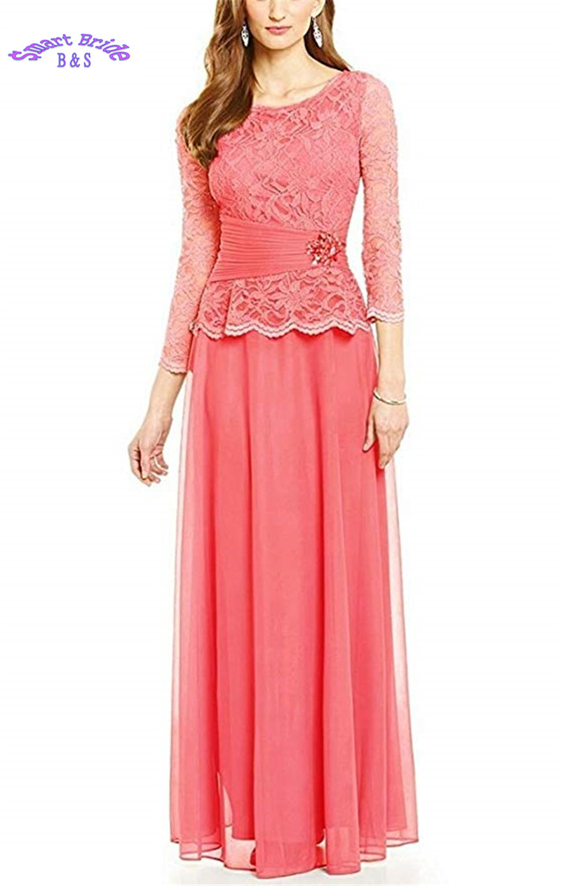 Chiffon 3/4 Sleeve Mother of Bride Dresses Crystal Long Modest Evening Gowns Prom Formal Party Gown For Wedding MD1
