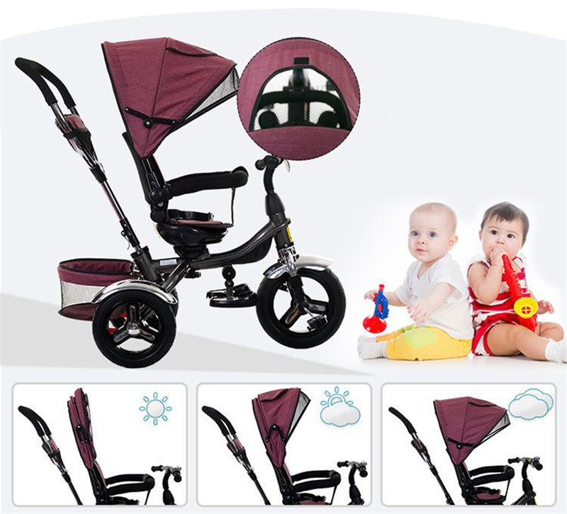 2017 kids Tricycle Pram 3 wheel Baby Stroller Child Three Wheels Carriage Baby Buggy Bike Bicycle For 6 Month to 6 Years Old6