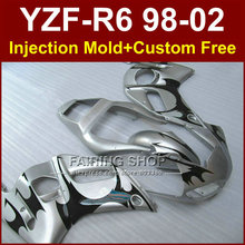 QT8D New free custom fairing for YAMAHA R6 98 99 00 01 02 YZF R6 silver fairing kit 1998 1999 2000 2001 2002 fairing parts OD7E