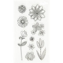 "New arrival ""sunflowers and leaves ""paper craft stamps Scrapbook DIY Photo Album silicone clear Stamps cartoon WJ-115"
