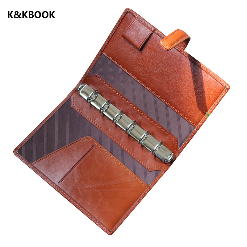 K&amp;KBook Genuine leather notebook A7 Pocket Handmade Sprial notebook Classic vintage Cowhide diary journal Refill Notepad <br>
