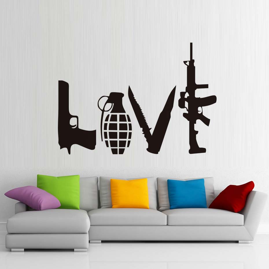 DCTOP Love Weapons Wall Decals Vinyl Adhesive Handgun Grenade Dagger Machine Gun Wall Stickers Home Decor Kids Room Accessories(China (Mainland))