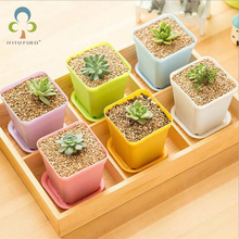 3set/lot Gardening Mini Plastic Flower Pots+plastic tray Vase Square Flower Bonsai Planter Nursery pots 5 color garden supplies