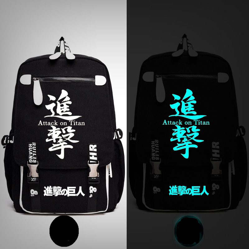 Anime Attack on Titan Scout Legion Train Squad  Stationary Guard Backpack Messenger Luminous Bag School Travel Bags Anime Gift<br>