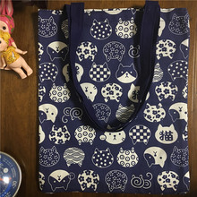 YILE Handmade Cotton Canvas Eco Shopping Tote Shoulder Bag Print Lucky Cat Head Navy Blue 1758-5(China)