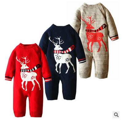 Baby Rompers Winter Thick Climbing Clothes Newborn Boys Girls Warm Romper Knitted Sweater Christmas Deer Outwear <br>