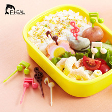 FHEAL 16pcs Novelty Plastic Musical Note Shape Food Fruit Fork Picks Set for Party Cake Dessert Fork Bento Accessories(China)