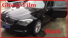 1 pc 1.52MX0.5M Black Glossy vinyl film bright Glossy car warp sticker with bubble free FREE SHIPPING(China)