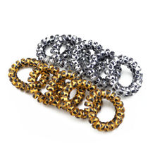 5Pcs Fashion New Gold/Silver Leopard Elastic Rubber Scrunchie Telephone Wire Hairbands Ponytail Holder