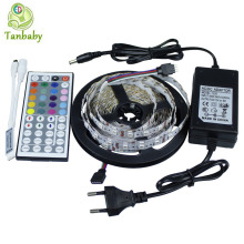 Tanbaby LED Strip 5050 LED SMD Light 5M 300 Led DC12V + 44Key RGB Controller (For RGB Strip) + 12V 3A Power Adapter EU US plug